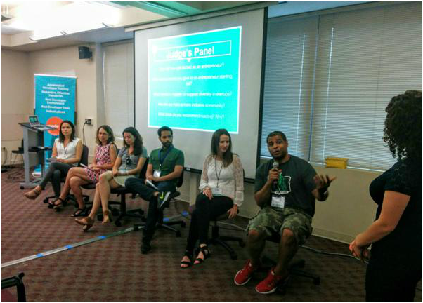 Sara Conte on judges panel at Startup Weekend Latino
