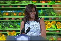 Michelle Obama, Healthy Lunchtime Challenge 2016.